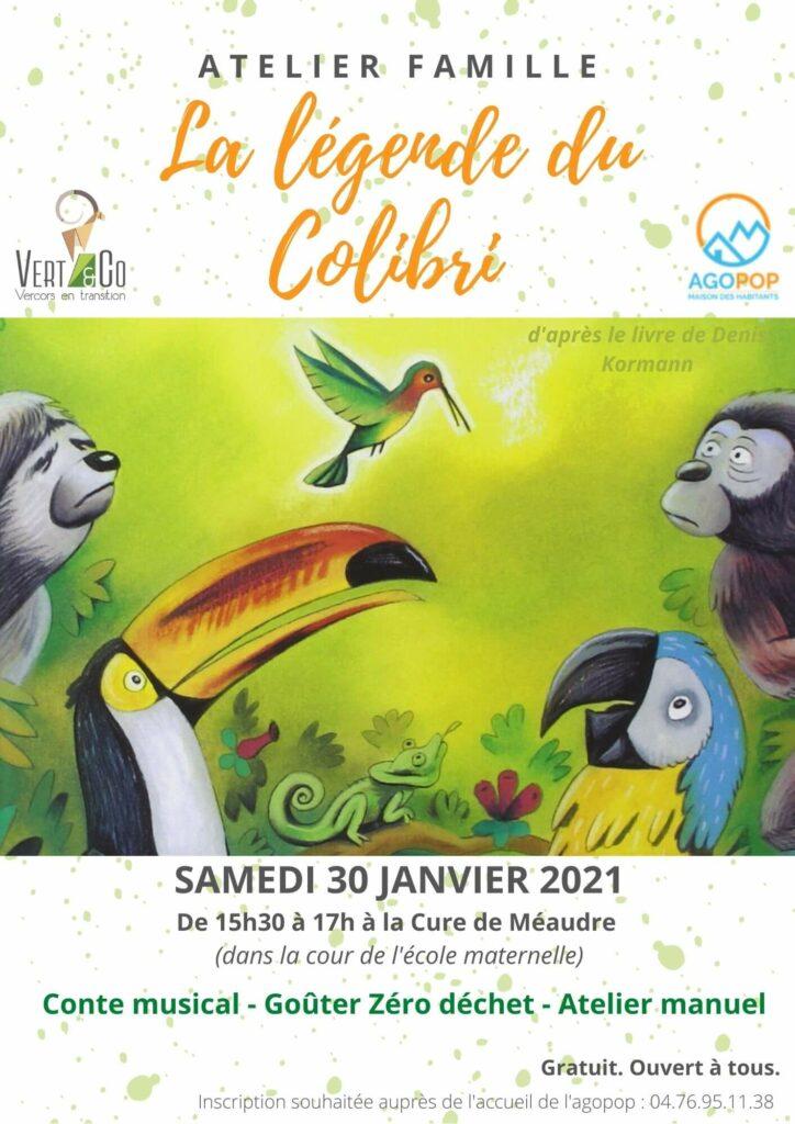 Venez découvrir en famille la légende du Colibri  le 30 janvier 2021 de 15h30 à 17h à la Cure de Méaudre (cours de l'école maternelle).